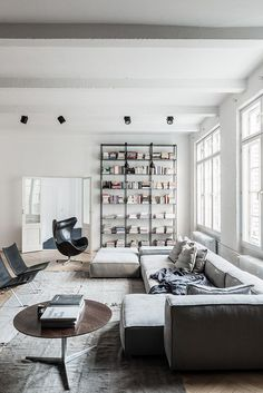 Light living room - love the shades of soft grey