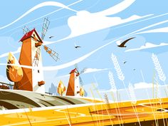 Buy Windmill Near Wheat Field by on GraphicRiver. Windmill near wheat field vector illustration. Building with sails or vanes that turn in wind and generate power to g. Wheat Fields, Environment Design, Fanart, Flat Illustration, Windmill, Game Art, Vector Art, Concept Art, Identity