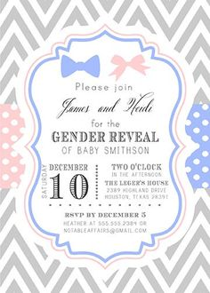 Items Similar To Bowtie Or Bow Pink Blue Chevron Polka Dots Modern Gender Reveal Party Baby Shower Invitation Tie Choose Colors On Etsy