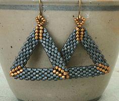 "3D PEYOTE TRIANGLE EARRINGS 15/0 seed beads Miyuki ""Light Bronze"" (457L) 11/0 Miyuki Delica beads ""Metallic Light Bronze"" (DB22L) 11..."