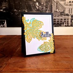 """Mosaic Leaves Card. Cardstock: PaperProducts; stencil: Dina Wakely (""""Mini Mosaic""""); ink: SU; Gold embossing paste: Nerchau; Sentiment: We R Memory Keepers (""""Hello stamps & dies set); dies: Avery Elle (""""Wonky Stitches"""")."""
