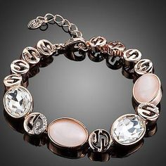 Rose Gold Plated Pink Opal and Clear Stellux Austrian Crystal Bracelet  #necklace #khaista #dresses #fashion #womensfashion #earrings #women #rings #jewelry