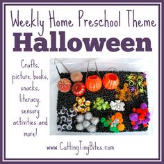 Halloween Theme- Weekly Home Preschool.  Tons of great activities, crafts, snacks, picture books and more!  Perfect amount of EASY activities for one week of home preschool.