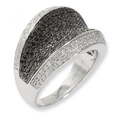 IceCarats Designer Jewelry Size 7 Sterling Silver Black White Diamond Ring | Your #1 Source for Jewelry and Accessories