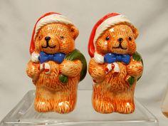 Vintage Salt and Pepper Shaker Dinnerware Set Santa Claus Christmas Teddy Bears