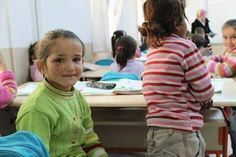 Refugee children in Turkiye Islahiye. UNICEF refugee camp with school and education facilities.
