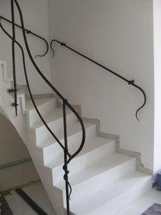 Wrought Iron Stair Railing, Steel Railing, Stair Handrail, Metal Railings, Wrought Iron Gates, Banisters, Bad Saarow, Outdoor Handrail, House Staircase