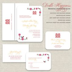 Chinese Wedding Invitations, Double Happiness Wedding Invitation, Wedding Invites, Asian, Tea Ceremony, Red & Gold, Traditional, Bird