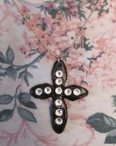 Cold Porcelain Cross Chain Choker by OrchidViola on Etsy, $15.00