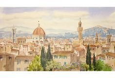 """A fine and large watercolor showing a panoramic aerial view of the city of Florence looking over rooftops towards the misty hills of Careggi and Fiesole. To the left of Brunelleschi's Duomo stands Giotto's tower and, to the right, the fortified keep of the Palazzo Vecchio. This wonderful work has an effortless and elegant simplicity that belies the complexity of the challenging composition. Signed lower right, """"G. Lapinez"""" and inscribed on verso, """"Giuseppe Lapinez, Firenze."""" Unframed."""