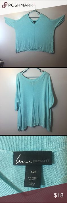 #15 teal soft thin knitted top This is a size 18/20 v-neck teal, very thin knitted sweater like top. The bottom of the shirt is loose and the sleeves are tighter fir around the elbow. It is very, very soft and has an approx 3 inch slit at each hip for a little extra flare. This would be perfect with leggings as well as skinny jeans for a comfy cute look. It could also be dressed up with the right accessories as well. Lane Bryant Tops Blouses