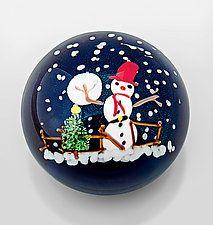 Snowman Paperweight Art Glass Paperweight by Mayauel Ward
