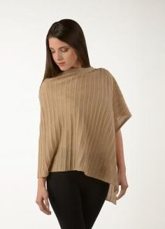 Lightweight Baby Alpaca Poncho with knitted stripes. The perfect accessory for a summer night #MS2014 #New #Arrival #Peru #Fall