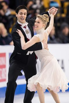 Kaitlyn Weaver and Andrew Poje of Canada skate during the Ice Dance short dance at the ISU World Figure Skating Championships at TD Garden in Boston, Massachusetts, March / AFP / Geoff Robins Ice Dance Dresses, Figure Skating Dresses, World Figure Skating Championships, World Championship, Kaitlyn Weaver, Dance Shorts, Masters, Female, Unitards