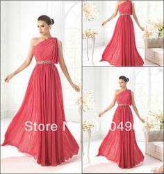 1385 customer made Plus size Coral one shoulder beaded waistline chiffon long evening dress prom dresses for girl 2013 US $139.00