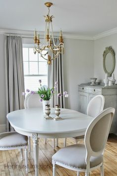 Walls painted Benjamin Moore Classic Grey :: Henhurst Interiors: The Dining Room Update mes couleurs de reves :) Dining Room Paint Colors, Dining Room Walls, Dining Room Design, Design Kitchen, Benjamin Moore Classic Gray, French Country Dining, Neutral Paint Colors, Gray Paint, Shabby