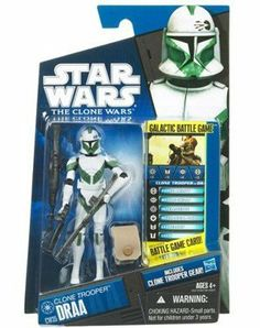 """Star Wars 2010 Clone Wars Animated Action Figure CW No. 35 Draa by Hasbro Toys. $19.57. For Ages 4 & Up. Figure comes with Clone Trooper gear, Galactic Battle Game card, die and base. Clone Trooper Draa is figure # CW35 in the 2010 Clone Wars action figure line. Star Wars: The Clone Wars 3 3/4"""" animated action figure from Hasbro. Draa is a clone trooper who served under Luminara Unduli during the Clone Wars."""