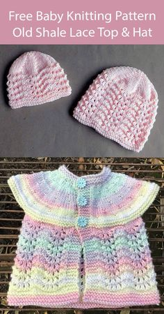 Free Knitting Pattern Old Shale Lace Baby Cardigan and Hat Sleeveless baby top or cardigan with lace lower body and matching lace beanie hat. DK weight yarn. Designed by marianna mel. Pictured projects by designer and Knitnack16