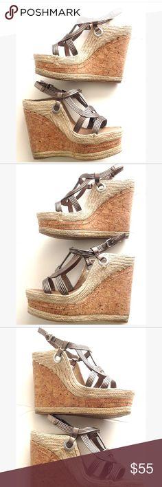 Pelle Moda straw metallic espadrille sandals Pelle Moda straw metallic espadrille sandals-strap closure. Pelle Moda Shoes Wedges