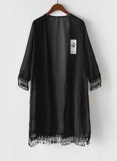 Femmes gland veste Kimono en mousseline de soie Cardigan longue Top Blouse plage Cover Up robe dans Chemises et Chemisiers de Accessoires et vêtements pour femmes sur AliExpress.com | Alibaba Group