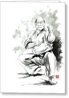Karate Martial Arts Kyokushinkai Masutatsu Oyama Japanese Kick Japan Ink Sumi-e Greeting Card by Mariusz Szmerdt
