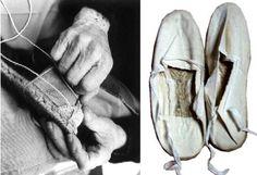 Lola, la alpargatera, utilizaba siempre las manos y un banco de madera para trabajar, y unas tijeras, lezna y aguja para coser las suelas urdidas de yute seleccionado y luego los cortes de loneta, el empeine y las cintas. También las hacía con suelo de goma. Miguel, que vino de Crevillente, se instaló en la calle del Cardenal Monescillo, y también elaboraba alpargatas en la trastienda.