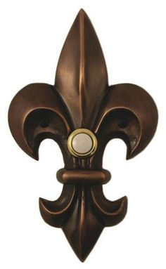 Solid Brass Large Fleur de Lis Doorbell - Oil Rubbed Bronze by Company's Coming, http://www.amazon.com/dp/B0061OAFJ0/ref=cm_sw_r_pi_dp_vpvrqb1F5EXXF