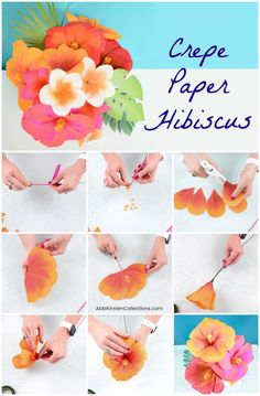 DIY Hibiscus Flower Template: How to Make Crepe Paper Flowers DIY Hibiscus Flower Template: Learn how to make these tropical crepe paper hibiscus flowers step by step. Use your Cricut machine or hand cut with scissors. Paper Flowers Craft, How To Make Paper Flowers, Giant Paper Flowers, Flower Crafts, Diy Flower, Tissue Flowers, Cactus Flower, Fabric Flowers, Paper Flower Backdrop Wedding