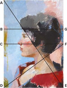 profile portraits --nose is placed halfway down the height of the portrait (CF) --hairline on the side of the face is parallel (AE) --The horizontal line (BG) that divides the part of the hair which is lit from the darker portion directly facing us is placed at two-thirds of the height of this piece --the back of the head, her right shoulder and the left side of her collar at the neckline are approximately on the same diagonal (DF).
