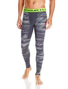 Under Armour Mens ColdGear Armour Printed Compression Leggings Stealth Gray  008 XXLarge   For more information 5068980392