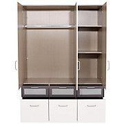 Skříň Šatní Nagold-extra - bílá/šedá, Konvenční, dřevěný materiál (136/197/54cm)