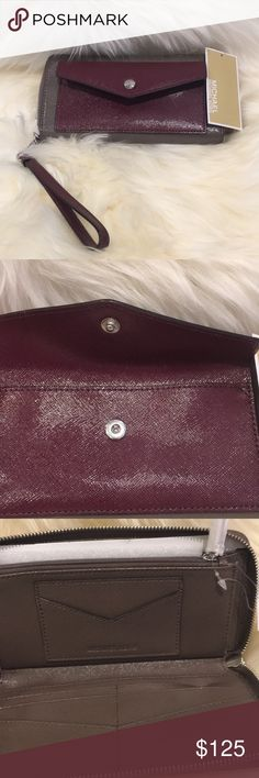 "🆕 Michael Kors Wallet Michael Kors ~ HONEY TRAVEL CONTINENTAL Large Zip Around Envelope Saffiano Leather Wristlet Wallet COLOR: ""Honey Cinder / Plum""  Measures: 8.5""(L) X 4""(H) X 1 1/4""(D) DESCRIPTION: Large Clutch Wallet OR Wristlet;Zip around closure ; 2-Tone Saffiano Leather; 12 slip pockets for cards ; 1 ID Envelope Slot; 2 Full-length slip pockets ;Gusseted Storage Compartment; Inside zip coin pocket ; Exterior Front Envelope Storage Pocket; MK Signature fabric Pocket lining…"
