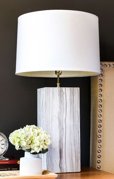 White table lamp with a wooden finish base