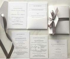 White silver and dove grey wedding invitation suite