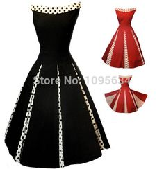 free shipping womens hot fashion 1950s polka dot rockabilly dress retro swing plus size S-6XL red black >>> More info could be found at the image url.