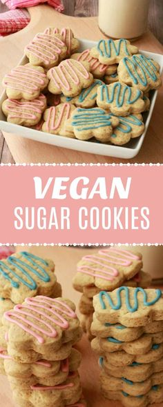Colorful and fun vegan sugar cookies. These soft and chewy sugar cookies are super easy to make and perfect for any occasion. Vegan Sugar Cookie Recipe, Easy Vegan Cookies, Chewy Sugar Cookies, Vegan Dessert Recipes, Easy Cookie Recipes, Delicious Vegan Recipes, Vegan Sweets, Cookies Et Biscuits, Cookies Soft