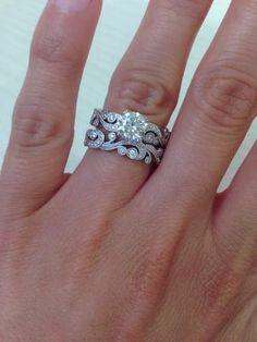 "Kirk Kara ""Angelique"" 14K White Gold Scrollwork Diamond Engagement Ring"