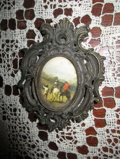 Vtg Ornate Small Antique Brass Victorian Scroll Designs Framed Cowboys Horses Western Print Cast Metal Picture Frame, Made Italy by treasuretrovemarket on Etsy