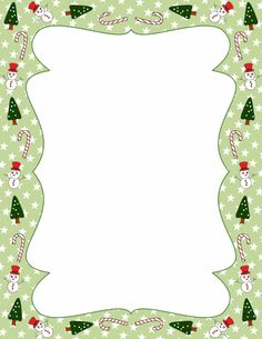 Christmas page border with candy canes, snowmen, and Christmas trees ...