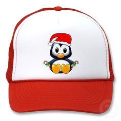 Cute Christmas Penguin Cartoon Mesh Hat