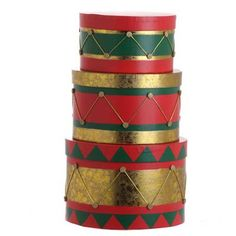 "RAZ Drum Boxes Set of 3 assorted boxes Set includes one of each Green/Red/Gold Made of Cardboard Measures 6"" X 9"", 5"" X 8"", 4"" X 6.5"" For Decorative Use Only $35"