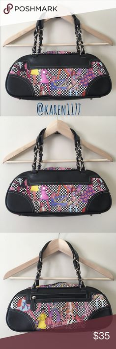 "🌻Unique Sydney Love 70's Retro Satchel Bag🌻 Unique Sydney Love Satchel Handbag Vinyl 70's Fashion retro Black & white checkers & woman I 70's attire Purse. Zipper Closure. Inside has Multi pockets. Like new conditions. 12""L 6""H  Medium size. Straps about 7""-9"" Sydney Love  Bags Satchels"