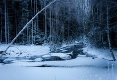 Winter night at the river ~ High Resolution Cold Night, Winter Night, Very Cold, Home Pictures, More Photos, Fine Art Photography, Finland, Blue And White, Snow