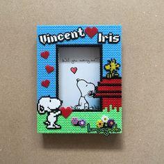 Custom Snoopy frame perler beads by ikasuyanto
