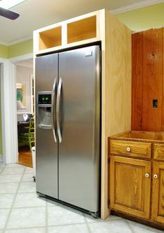 Young House Love has a great tutorial on their DIY fridge built in. Will do this in kitchen reno this spring. Diy Kitchen Cabinets, Built In Cabinets, Kitchen Redo, Kitchen And Bath, New Kitchen, Kitchen Remodel, Kitchen Ideas, Farmhouse Cabinets, 1950s Kitchen