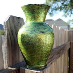 Love this vase treatment --- modge podge, glitter & paint!!!!