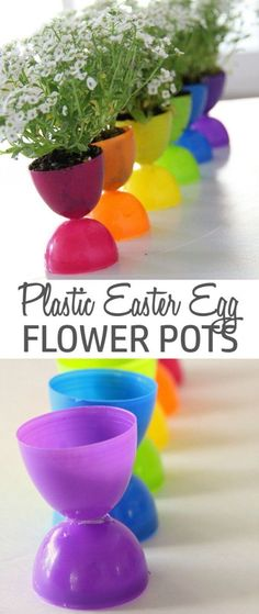 Check out this cute #Easter decor idea with plastic egg flower pots. Love it! #HomeDecorIdeas @istandarddesign