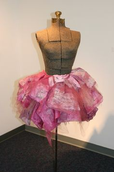 ~The tutu on this dress form is made out of letters and notes written to the artist.♥