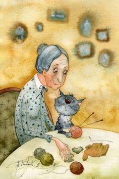 Women & Cats, by Victoria Kirdy, via tumblr.