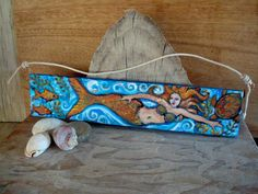 Primitive Mermaid Folk Art Painting Under the by busterbeanknows, $30.00